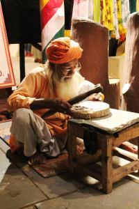 Block printing artisan at Chokhi Dhani, Kalagram, Jaipur