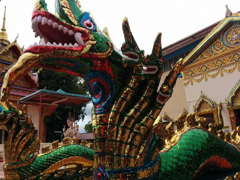 A Chinese touch at an ornate Thai Buddhist temple, Wat Chayamangkalaram